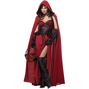 Incomparable Beauty 2015 Best Seller Long Cape Fairy Tales Story Dark Red Riding Hood Costume for Halloween Adult Girls L1303 - ShopeeShipee