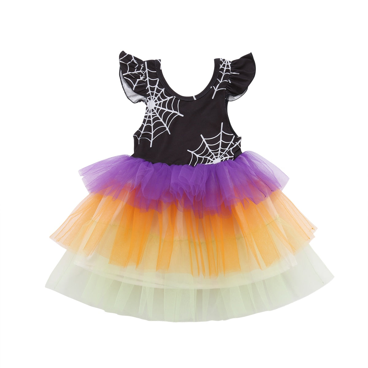 Infant Baby Girls Halloween Spiderweb Tulle Dress Princess Girls Dress Clothes Costume 1-6Y