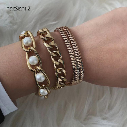 IngeSight.Z 3Pcs/Lot Punk Miami Curb Cuban Thick Bracelet Bangle Chunky Heavy Metal Imitation Pearl Bracelet Wrist Chain Jewelry