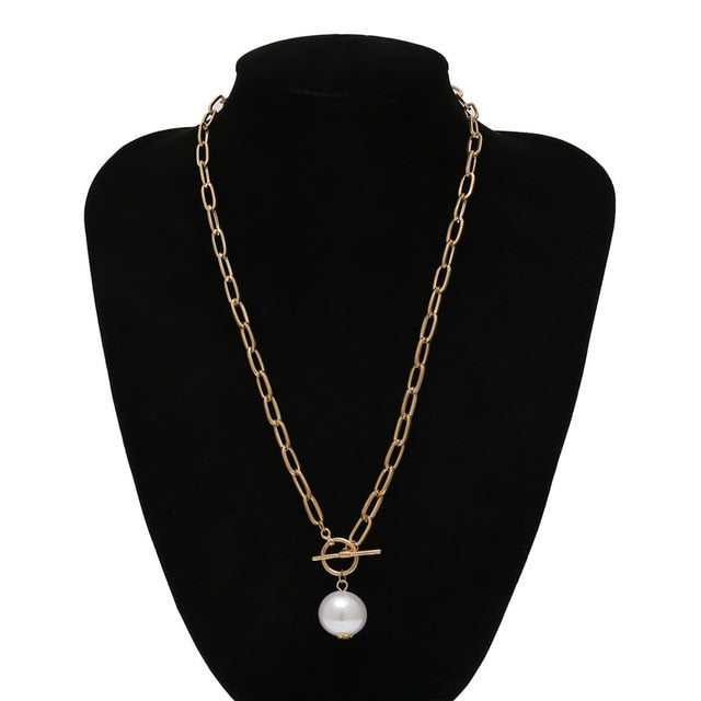 Pearl Pendant Necklace Curb Cuban Thick Chain Toggle Clasp Long Necklaces