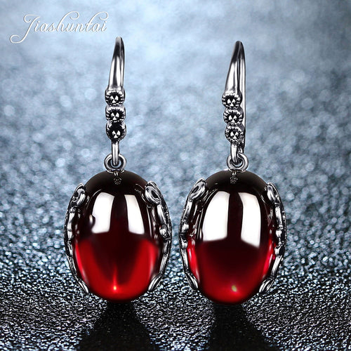 Retro Silver Earrings for Women Vintage Red Yellow Precious Stones with 925 Sterling Silver indian Jewelry pendientes - ShopeeShipee