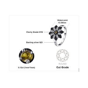 JewelryPalace Flower Natural Taupe Smoky Quartz Black Spinel Ring Charms 925 Sterling Silver Fashion Fine Jewelry For Women Ring - ShopeeShipee