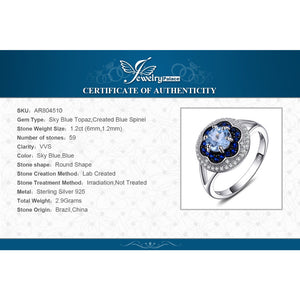 Jewelrypalace Spark Flower 1ct Genuine Sky Blue Topaz Created Blue Spinel Cluster Halo Rings 925 Sterling Silver Fine Jewelry - ShopeeShipee