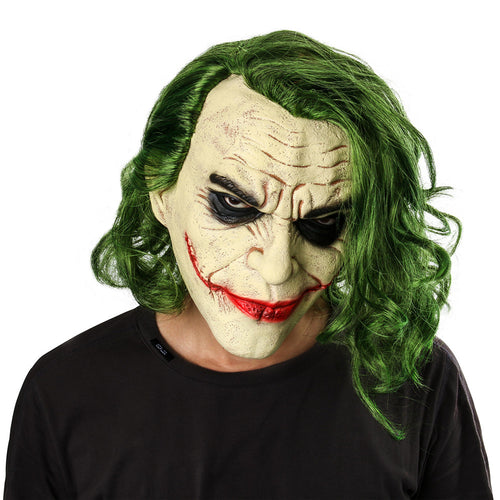 Joker Mask Movie Batman The Dark Knight Cosplay Horror Scary Clown Mask with Green Hair Wig Halloween Latex Mask Party Costume - ShopeeShipee
