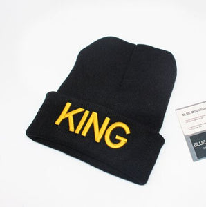 Winter Cheap Men and Women Embroidery Knitted Hat Autumn Black King Queen Solid Curled Beanies Skullies