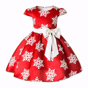 Kids Clothes Sleeveless Girls Dresses Baby Big Bow Princess Christmas Dress Snowflake Party Costume Children Clothing - ShopeeShipee