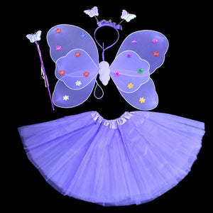 Kids Princess  Butterfly Wings +Wand+Headband+Tutu Skirt Party Dance Costumes Cosplay Fairy - ShopeeShipee