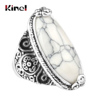 Kinel Flower Band Oval Natural Stone Rings For Women Vintage Look Antique Silver 5 Colors Fashion Retro Jewelry