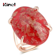 Kinel Hot Drop Shipping Luxury Blue Natural Stone Ring Rose Gold Fashion Wedding Jewellery 7 color Options Party Gift