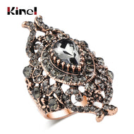 Kinel Unique Gray Crystal Ring For Women Antique Gold Color Vintage Jewelry Party Accessories Luxury Gifts