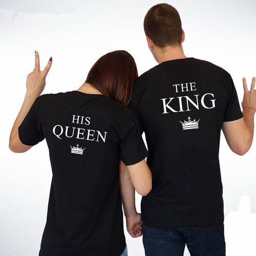 King Queen Couple Shirts Women Men Short Sleeve Casual Couple Lover T-shirt Anniversary gift - ShopeeShipee