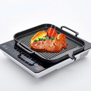 Korean Induction Cooker Baking Tray Square Barbecue Tray Teppanyaki Smokeless Non-stick Barbecue Pot Barbecue Supplies