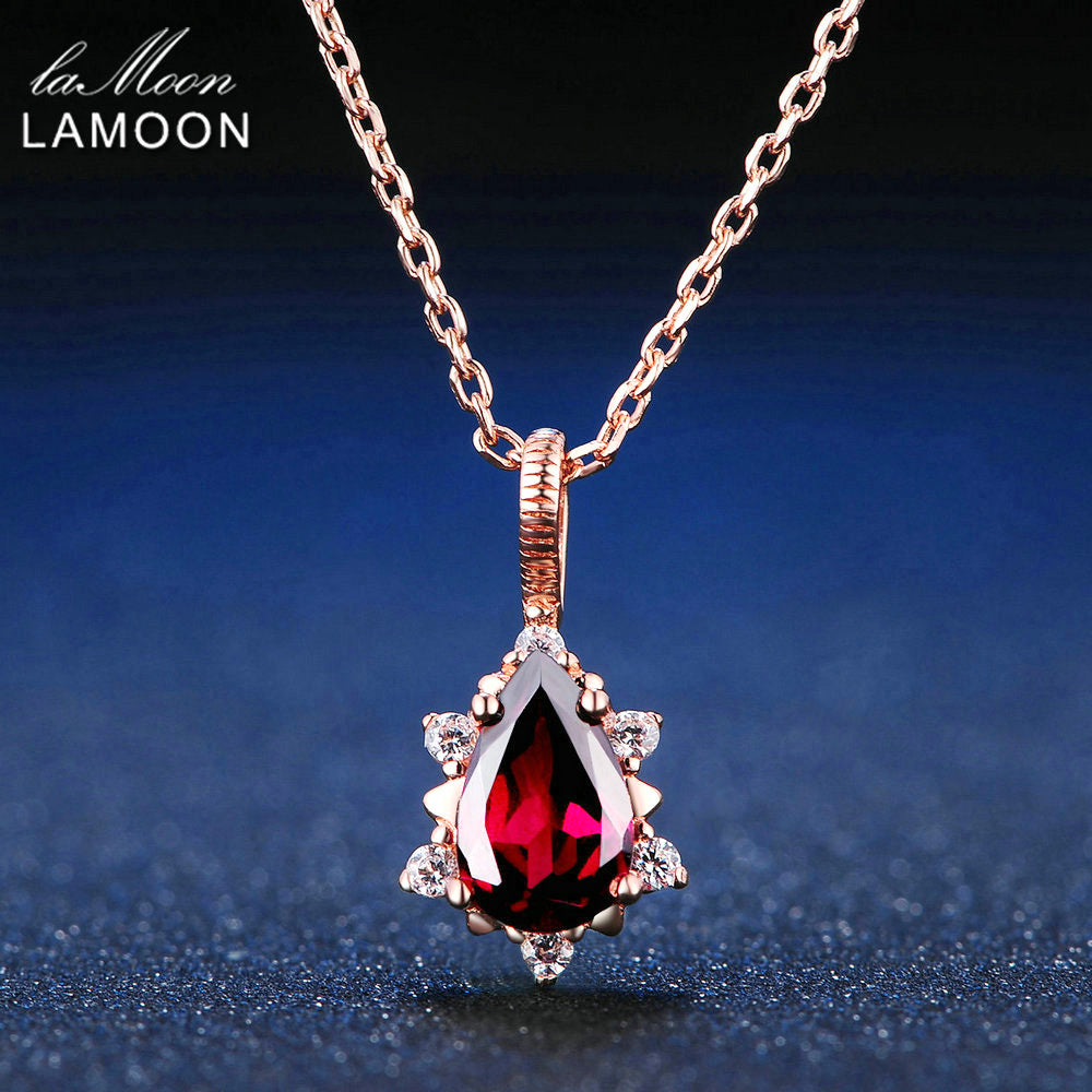 LAMOON 5x7mm 1ct 100% Natural Pear Red Garnet Pyrope 925 Sterling Silver Jewelry Rose Gold Chain Pendant Necklace S925 LMNI024