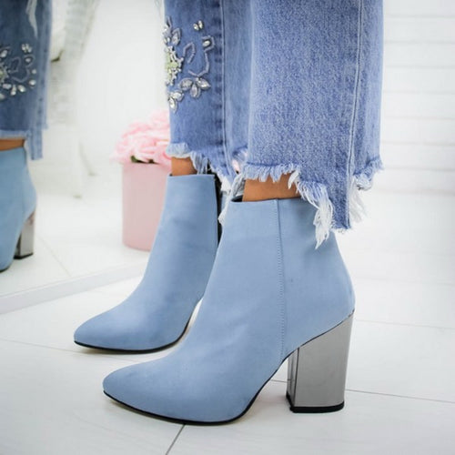 Women Shoes Ankle Pumps Flock Toe Boots Solid Autumn Spring 2020 New High-heeled Shoes Botas Mujer - ShopeeShipee