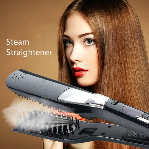 LCD Hair Steam Straightener Electric Brush Hair Hair Flat Iron Vapor Plate Led Ferro Dry & Wet Hair Iron Steampod Styling Tool - ShopeeShipee