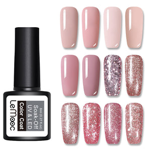 LEMOOC 8ml UV Gel Nail Polish Rose Gold Glitter Sequins Soak Off UV Gel Varnish  Color Nail Gel Polish DIY Nail Art Lacquer