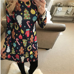 Large Sizes 2018 New Autumn Women Casual Long Sleeve Cute Christmas Tree Snowman Dresses Loose Plus Size Dress Vestidos 4XL 5XL - ShopeeShipee