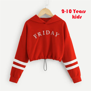 Letter Eye Print Girls Crop Hoodies Pullover Tops 2019 Autumn Korean Fashion Long Sleeve Crop Sweatshirts For Girl Kids Clothes - ShopeeShipee