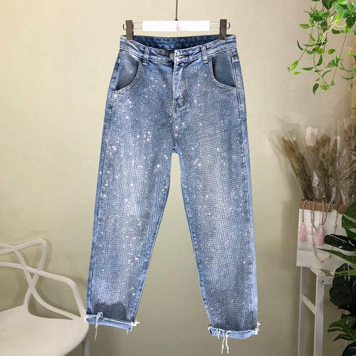 Loose Jeans Woman 2020 Spring New Fashion Rhinestone Hot Drill Denim Pants Jeans Femme - ShopeeShipee