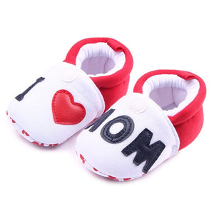 Lovely Toddler First Walkers Baby shoes Round Toe Flats Soft Slippers Shoes I Love MOM/DAD