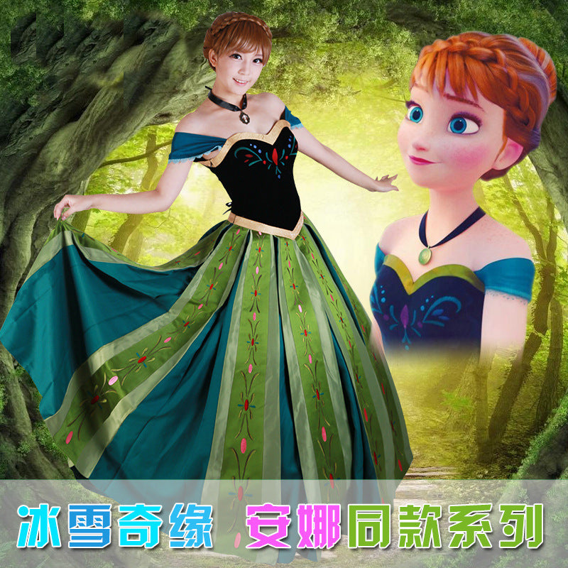 Luxury Adult Princess Anna Costume Women Anna Coronation Dress Cosplay Plus Size halloween costumes for women 2XS-2XL - ShopeeShipee