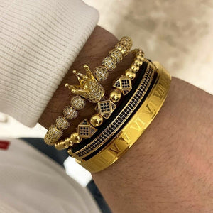 Luxury Royal Crown Charm Bracelet Men Fashion 2019 Fahsion New Gold Braided Adjustable Men Bracelet For Jewelry Gift