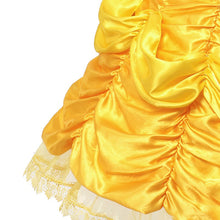 MUABABY Girls Belle Dress up Fantasy Shoulderless Beauty and The Beast Princess Costume Kids Halloween Cosplay Party Ball Gown
