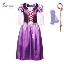 MUABABY Girls Rapunzel Dress Children Summer Princess Cosplay Costume Puff Sleeve Noble Queen Tangled Halloween Party Ball Gown