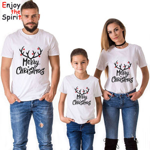 Matching Family Christmas Tshirt Dad Mom Son Daughter Deer Cartoon Tee Shirt Look Soft Cotton Clothes O Neck Casual Fashion - ShopeeShipee