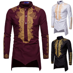 Men African Gold Polished Dashiki Turtleneck Half Button Shirt High Collar Asymmetrical Tailcoat Tunic Groom Top For Men 3XL - ShopeeShipee