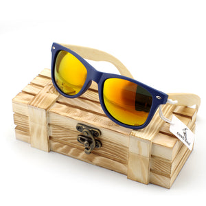 Men's Bamboo Wood Sunglasses in Vintage Style with Plastic Frame and Polarized UV Protection Colorful Lens In Gift Box - ShopeeShipee