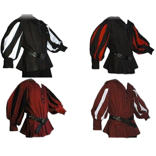 Men's Medieval Warrior Knight Tunic Shirt Belted Lansquenet Larp Pirate Costume Black Lace-Up Top Clothing For Paladin Plus Size - ShopeeShipee