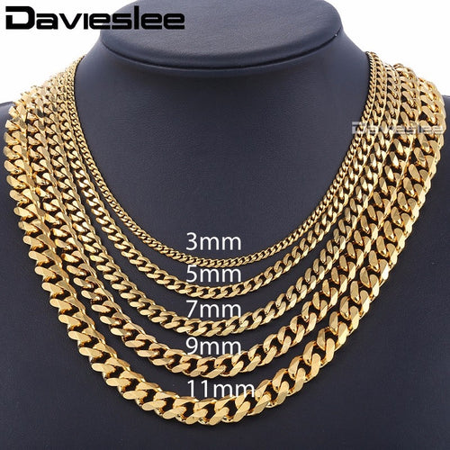 Mens Necklaces Chains Stainless Steel Silver Black Gold Necklace for Men Women Curb Cuban Davieslee Jewelry 3/5/7/9/11mm DLKNM08 - ShopeeShipee