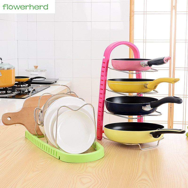 Metal Pot Shelf Kitchen Organizer Pan Cover Rack Stand Storage Holder Dish Rack Adjustable Sink Organizer Kitchen Accessories
