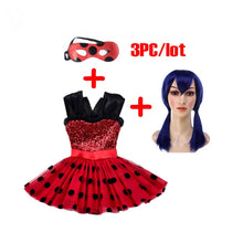 Miraculous Girls Dress Kids Flash Red Dress For Girls Mask Cosplay Costumes Halloween Ladybug Marinette Wig Bobo Choses Clothes