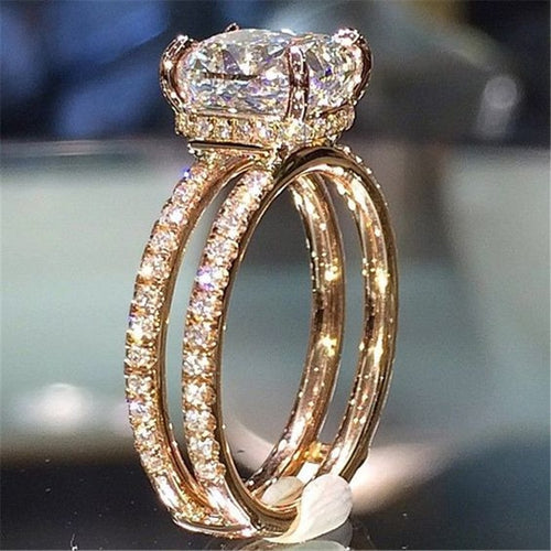 Big White Cubic Zircon Wedding Jewelry Luxury Gold Color Two layers Crown engagement Ring for Woman