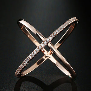 New Big Cross Zircon Ring Fashion Female Jewelry Infinity Sign Women Rose Gold Rings for Party