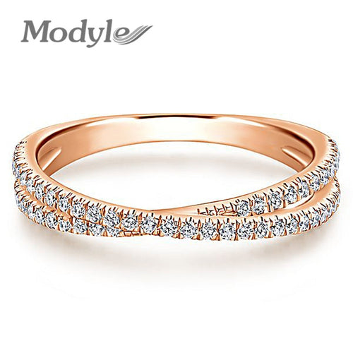 Gold Color Endless Beauty Twisting Wave Cubic Zircon Finger Ring for Women Engagement Jewelry Gift