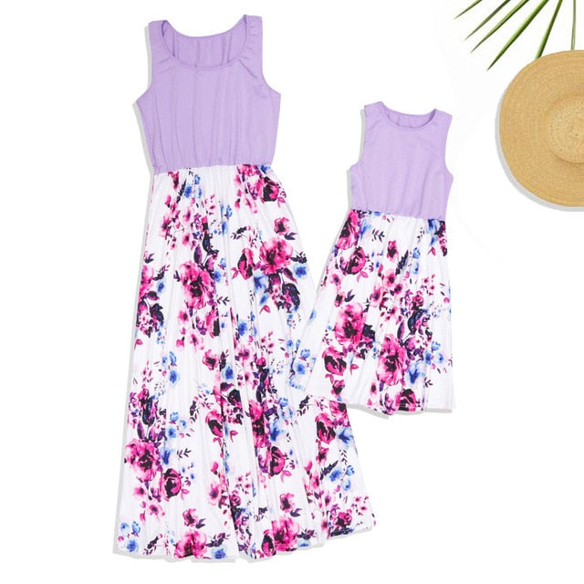 Mother Daughter Dresses Fashion Patchwork Floral Long Dress Mommy and me clothes vestido mae e filha Family matching clothes