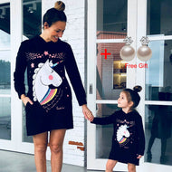 Mother Daughter Unicorn Sweatshirts Christmas Family Matching Cartoon Clothes Outwear Mom And Daughter Clothes Long Tops Dress