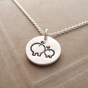 Mother and Baby Pig Necklace Mom and Piglet Pendant Necklaces Animal Jewelry