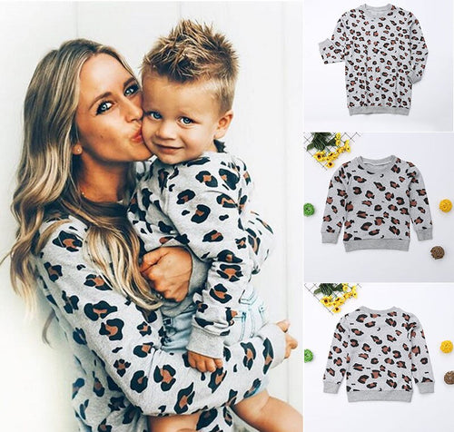 Mother and Daughter Me Family Matching Clothes Mom Kids Girls Boys Autumn Sweatshirt Leopard Print Pullover Tops T-shirts - ShopeeShipee