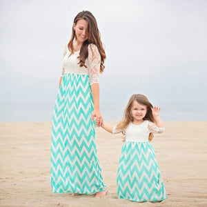 Mother daughter dresses Bohemian mother & kids family matching outfits New Fashion 2 Color Lace Patchwork Beach Dress
