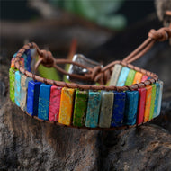 Multicolor Bracelet Boho Natural Stone Wrap Bracelet Chakra Bracelet Dropshipping Single Leather Wrap Bracelet Power Jewelry