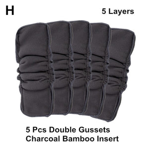 [Mumsbest] Wholesale 5PCS Reusable Bamboo Charcoal Insert Double Gussets No Leaking Inserts Baby Cloth Diaper Nappy Liners