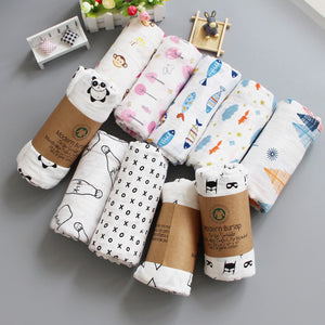 Muslin 100% Cotton Baby Blanket 120*120cm Soft Newborn Blankets 2 Layers Bath Gauze Infant Swaddle Wrap Sleepsack Stroller Cover - ShopeeShipee