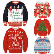 Christmas Novelty Ugly RED Retro Jumper Warm Sweater