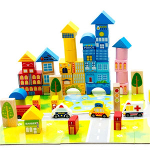 New 62pcs Safety color cartoon images city traffic scene wooden building blocks Children's birthday and Christmas gift - ShopeeShipee