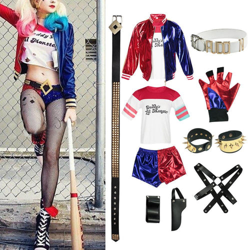 New Adult Cosplay Harley Quinn Ladies Costume Full Set Suicide Squad Cosplays Accessories Party Halloween Costumes - ShopeeShipee
