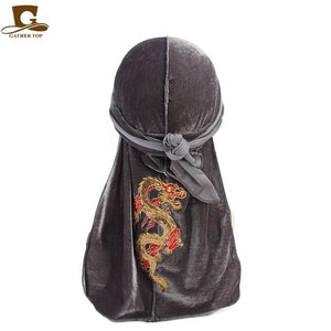 New China Fashion Dragon Pattern Velvet Durag Headwrap Women and Men Turban